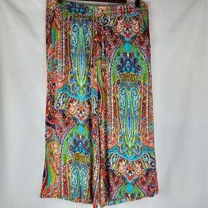 Cynthia Rowley Tie Front Wide Leg Capri Pants